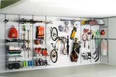 Want an organized garage? Go vertical! Whether it's an elfa system or a peg board system, you can get everything up and off of you garage floor, have all like items together, and hang everyt… Garage Wall Storage, Garage Walls, Garage House, Diy Garage, Garage Shelving, Elfa Shelving, Storage Shelves, Wall Shelving, Shelving Systems