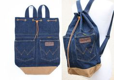 denim backpack blue jeans cotton drawstring by UpcycledDenimShop