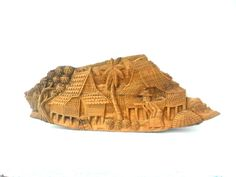 """Wood Carving Old Thai Village Life Culture Hand Carved wood Natural Teak Wood Home Wall Hanging Art Decor Natural Colour/ Gift 18""""X6.5"""" by WoodCarvingArt on Etsy"""
