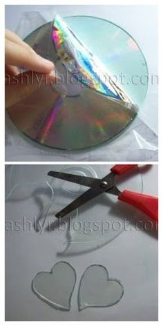 CSashlyr: Arte y decoración: Tutorial: Como reciclar cds Old Cd Crafts, Fun Crafts, Diy And Crafts, Crafts For Kids, Recycled Cds, Recycled Crafts, Cd Recycle, Cd Diy, Shrink Art