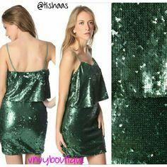 Layered Top Emerald Sequin Mini Dress