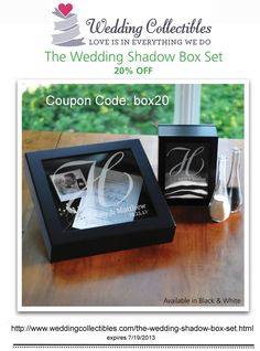 Now through July 19, our Wedding Shadow Box is 20% off! Just enter the code box20 at checkout to save. Perfect as a wedding keepsake or for any other special occasion. Get a closer look by clicking here: http://www.weddingcollectibles.com/the-wedding-shadow-box-set.html