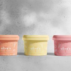olive's Organic Ice-cream on Packaging of the World - Creative Package Design Gallery Yogurt Packaging, Ice Cream Packaging, Bakery Packaging, Brand Packaging, Ice Cream Logo, Ice Cream Brands, Tag Design, Gelato, Ice Cream World