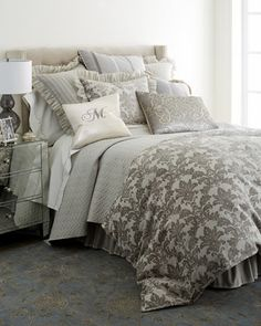 Light grey quilt in the Emilia Bedding by Isabella Collection by Kathy Fielder at Horchow. Bedroom Bed, Dream Bedroom, Home Decor Bedroom, Master Bedroom, Bedroom Ideas, Bedroom Designs, Boudoir, Silver Bedding, Bed Photos