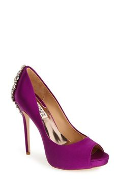 Badgley Mischka 'Kiara' Crystal Back Open Toe Pump (Women) available at #Nordstrom