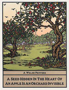 Apple Trees, Block Print by Yoshiko Yamamoto.