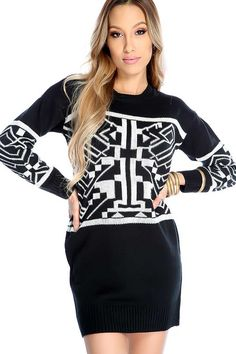 #FashionVault #kandy kouture #Women #Dresses - Check this : Sexy Black White Graphic Knit Sweater Dress for $39.99 USD instead of $12.99 #OnSale