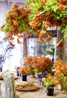 Table Beauty Using Tangerine and Blue by Karen Tran Florals