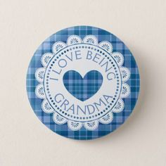 Personalized baby shower teal chevron paper plates chevron paper blue plaid i love being grandma button negle Images