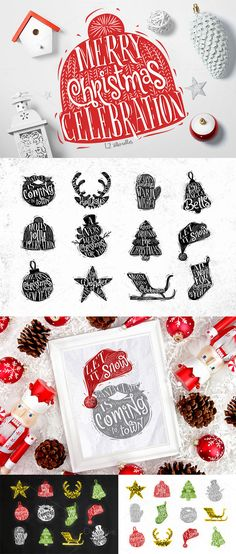 Christmas silhouettes by Anna on @creativemarket