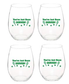 You've Just Been Served! Unique Tennis Wine Glass 15 oz Stemless Wine Glasses Set of 4 -- Click image to review more details.