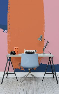 Major desk envy. This design wallpaper print marries together high intensity colour with distinctive pattern. Giving you a punchy wall mural that awakens your senses and hopefully helps you get more work done too!