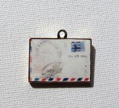 Vintage enamel airmail letter pendant charm
