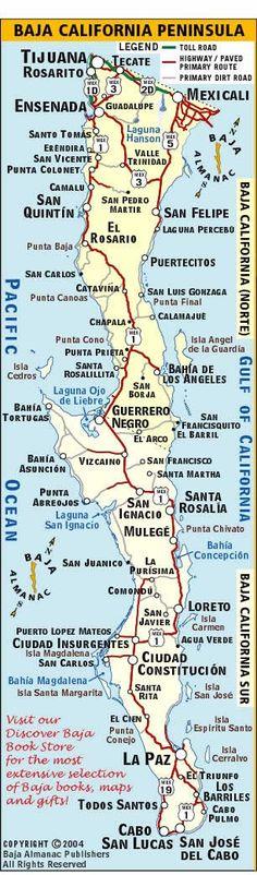 Mapa del estado de Baja California. Acampar en la playa de San Felipe. Motel, compras & comedor en Ensenada.