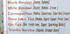 Steve Job's Tini (Vodka, Apple Liquor, Fresh Lime) :) via Seth Porges (@sethporges)   Twitter
