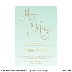 Miss to Mrs bridal shower invitation gold mint fad