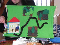 Raconte-tableau cousu pour contes Roule-galette et le Petit chaperon rouge