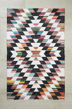 Woven Diamond Kilim Rag Rug