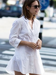 I really like her style. Simple yet classy. Shirtdress by Acne Studios - afterDRK