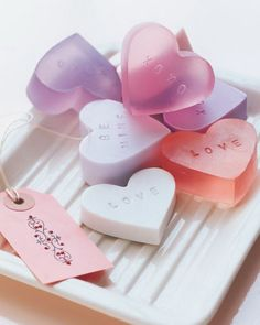 These heart shaped soap are perfect gifts for Valentine's Day. They could also be made into other shapes as well for other gifts. http://hative.com/creative-homemade-soap-recipes-and-ideas/
