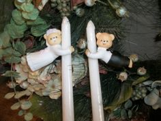 Bride and Groom Teddy Bears Wedding Candle Climbers Porcelain Bisque Gift #TreasuresTimes