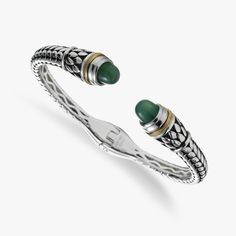 Green Agate And Sterling Silver Cuff Bracelet, 18K Yellow Gold Accent
