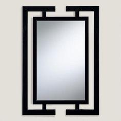 Black Wood Beveled Wall Mirror