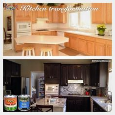 Metamorphosis, https://www.facebook.com/Metamorphosiscarmel, completely changed this kitchen with the help of General Finishes Java Gel Stain on the cabinets and Snow White Milk Paint on the island.  #generalfinishes #javagel #gfgelstain