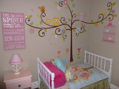 "Toddler Girl's Room...So Cute! Love the ""Happi Tree"" wall decor and itsy bitsy spider word art"