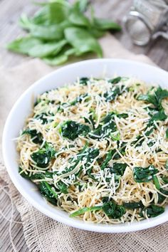 5-Ingredient Spinach Parmesan Pasta Recipe on twopeasandtheirpod.com You only need 5 ingredients to make this amazing pasta dish!