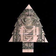 Money origami christmas gift