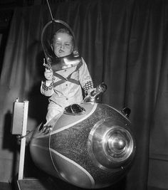American Toy Fair, 1953 | funny | space invaders | dress ups | 1950s | children playing | quirky | pulling faces | vintage | www.republicofyou...
