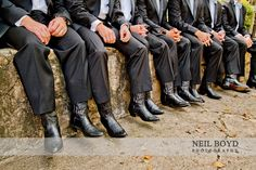 Black cowboy boots for groom and groomsman.  Country wedding. Neil Boyd Photography.