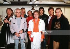 Photo of YES and Alan WHITE and Bill BRUFORD and Trevor RABIN and Jon ANDERSON and Steve HOWE and Rick WAKEMAN and Tony KAYE and Chris SQUIRE, Union Tour Line Up - L-R: Chris Squire, Tony Kaye, Rick Wakeman, Alan White, Jon Anderson, Trevor Rabin, Bill Bruford, Steve Howe - posed, group shot