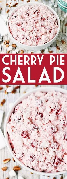 Cherry Pie Salad -- Cherry pie salad requires six simple ingredients and less th. - Recipes to Try - Fluff Desserts, Dessert Salads, Fruit Salad Recipes, Köstliche Desserts, Dessert Recipes, Jello Salads, Fruit Salads, Pie Recipes, Cherry Jello Recipes