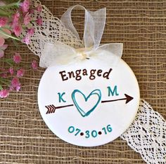 Engagement Ornament with Scribble Heart and Arrow -Personalized,Engagement Gift for Couple,Ceramic Ornament,Dated Ornament,Wedding Ornament