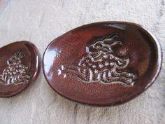 Tiny Trinket Dish Ceramic with Deer Antelope by ShadyGrovePottery