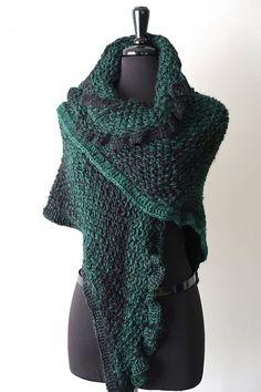 0172645d66b04 EMERALD BEAUTY - Ruffled Knitted Shawl with Flower Brooch Wool Acrylic Yarn  Green Black Color
