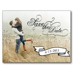 Save the Date Calligraphy Photo Postcard