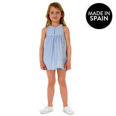 Vestido Canesú Rayas Azul