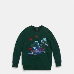NYFW - Coach - Embroidered Souvenir Sky Sweatshirt - Alternate View A1