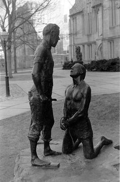 Abraham and Isaac, bronze, Princeton University, by George Segal, 1924-2000