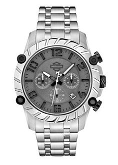 Men's Wrist Watches - HarleyDavidson Mens Bulova Charcoal Wrist Watch Stainless Steel 78B133 *** Visit the image link more details. (This is an Amazon affiliate link)