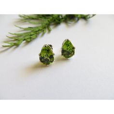 Peridot Studs, Sterling Silver Earrings, Semi Precious Gemstone Studs,... (655 ILS) ❤ liked on Polyvore featuring jewelry, earrings, inspiredby10, egyptian earrings, birthstone jewelry, holiday earrings, teardrop earrings and peridot stud earrings