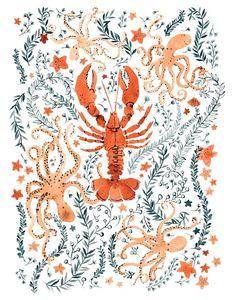 My Paisley World: Vikki Chu Illustration http://mypaisleyworld.blogspot.com/2014/10/vikki-chu-illustration.html #MyPaisleyWorld #VikkiChu #Lobster