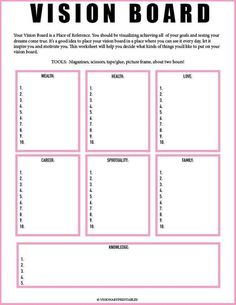 Board Worksheet// Vision Board Checklist// Law of Attraction// Visualization Worksheet// Mind Get Your Personal Walking Plan and Transform Your Body 🔥🔥🔥 PINK Vision Board and Vision Frame Goal Board, Creating A Vision Board, Visualisation, Goal Planning, Party Planning, Planning Board, Business Plan Template, Self Development, Software Development