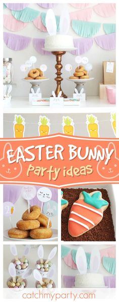 Loving this cute Easter Bunny birthday party! The bunny cake is adorable!! See more party ideas and share yours at CatchMyParty.com #catchmyparty #partyideas #easterbunny #easterparty #easteregghunt