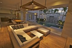 I want a huge lounge area like this. Perfect  place to chill.