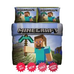 http://iragorastore.ecrater.com/p/24062866/minecraft-set-gift-fleece-blanket #minecraft #bedding #homedecor
