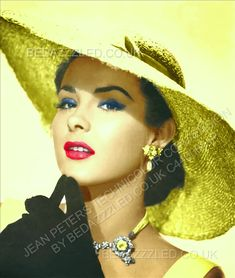 JEAN PETERS TECHNICOLOR CONVERSION BY BEDAZZZLED FROM SEPIA Hollywood Icons, Vintage Hollywood, Classic Hollywood, Jean Peters, Movie Photo, Beautiful Actresses, Movie Stars, Panama Hat, Beautiful Women